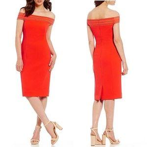 Antonio Melani Off Shoulder Red Orange Dress 392